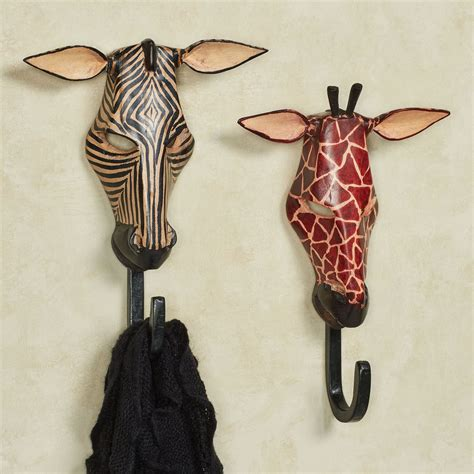 giraffe bathroom set exotic tribe zebra and giraffe wall hook set