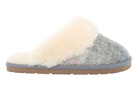 womens plaid slippers womens lamo plaid scuff grey pink