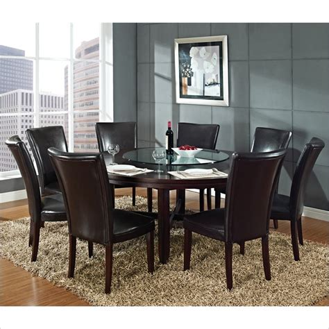 72 round dining room tables hartford 9 piece 72 inch round dining table set in dark