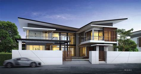 modern two storey house with streamline roof cgarchitect professional 3d architectural visualization