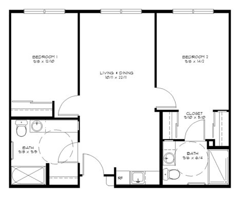 Two Bedroom Floor Plan by Assisted Living Wheatland Village Retirement Community