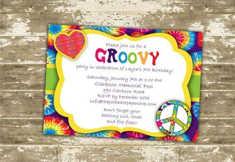 60s theme party guide party ideas home evite groovy birthday party invitation diy print at home