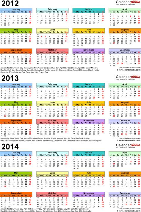 calendar 2014 uk template three year calendars for 2012 2013 2014 uk for excel