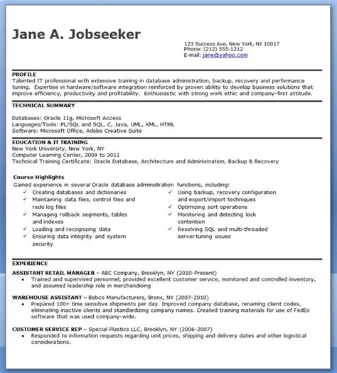 Resume Sles Database Administrator Database Administrator Resume Entry Level Resume Downloads