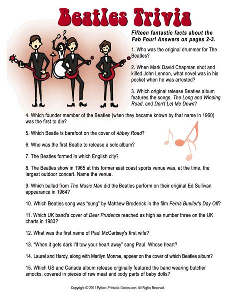birthday themes quiz beatles trivia 60th birthday game activities trivia