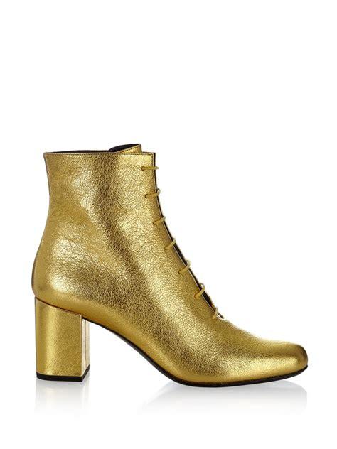 laurent babies 70 block heel leather ankle boots in
