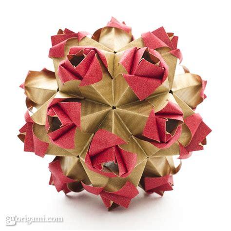 modular origami flower roses kusudama by sinayskaya go origami