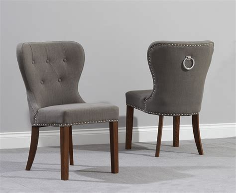 knightsbridge studded grey fabric oak leg dining