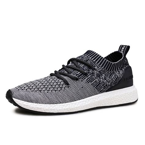 soft sport shoes casual soft sole lace up sport knitted athletic shoes