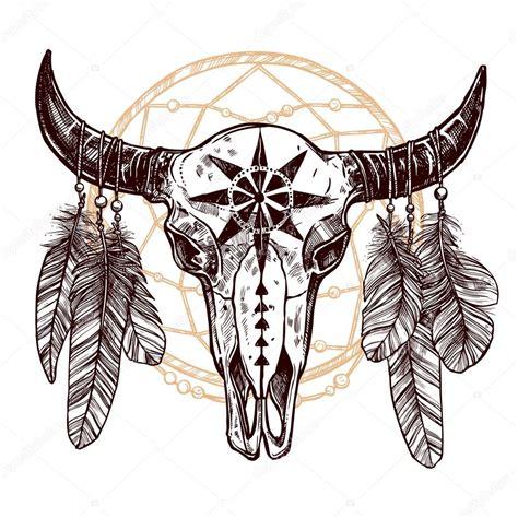 buffalo totenkopf mit federn stockvektor 169 alexrockheart