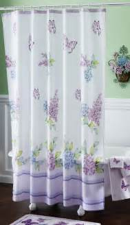 Spring bathroom decor purple butterflies w lilac floral accent shower