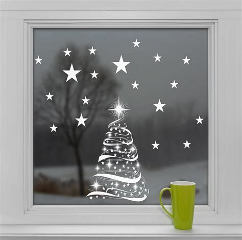 christmas tree window christmas lights decoration drawn