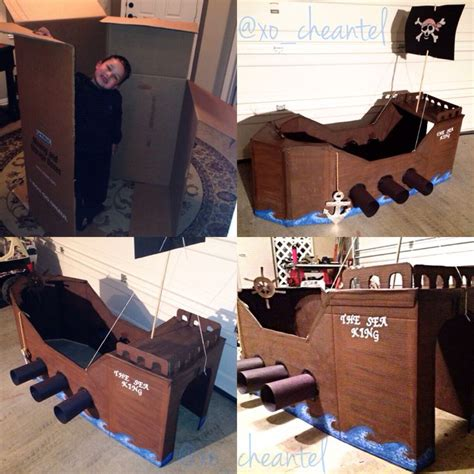 diy cardboard pirate ship anchor out of cardboard and