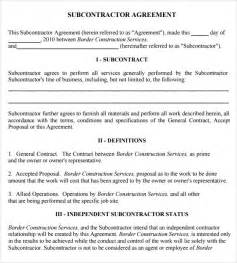 Subcontractors Contract Template by Sle Subcontractor Agreement 7 Exle Format