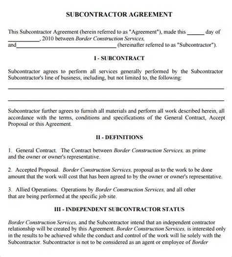 8 Subcontractor Agreement Sles Sle Templates Subcontractor Agreement Template For Professional Services