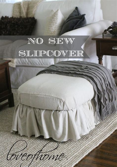 how to make a slipcover for an ottoman no sew ottoman slipcover using painter s drop cloth