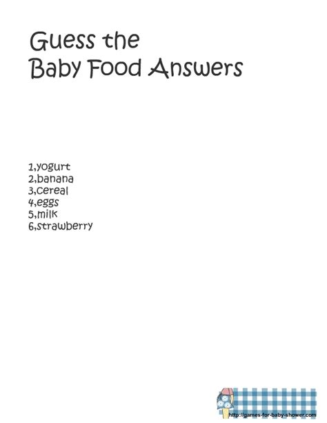 baby shower guess the baby food template search results