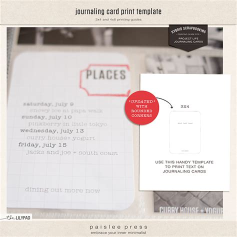 Journaling Card Template by The Lilypad Journal Cards Journaling Card Print Template