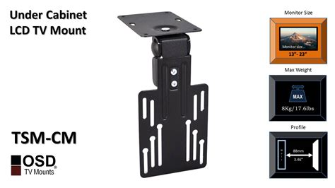 under kitchen cabinet tv mount swivel under cabinet tv mount 13 quot 23 quot osd tsm cm