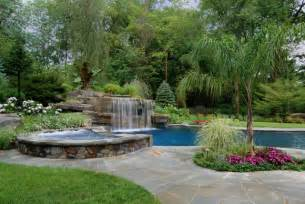 Allendale nj design inground swimming pool waterfalls with spa