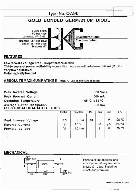 germanium diode pdf oa90 151197 pdf datasheet ic on line