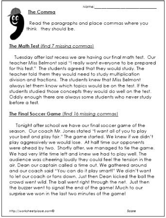 comma worksheet paragraphs school