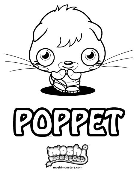 moshi monsters coloring pages poppet moshi monster colouring