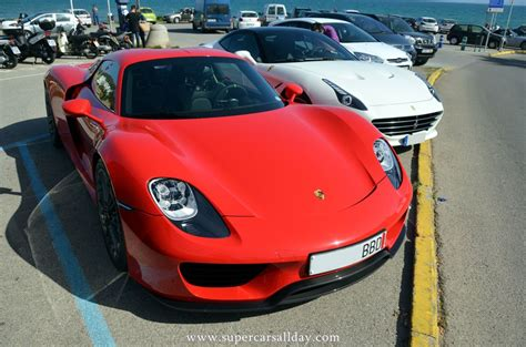 red porsche 918 all red porsche 918 spotted at puerto de sitges