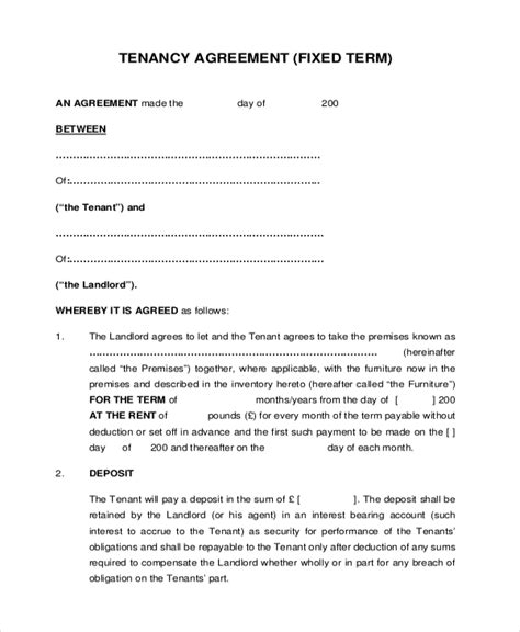 landlords contract template 8 sle tenant agreement forms sle exle format