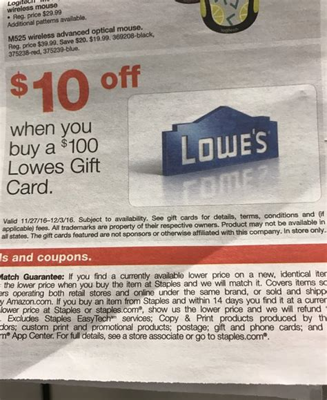 Where To Buy Lowes Gift Cards - 10 off 100 lowe s gift card at staples thepicky