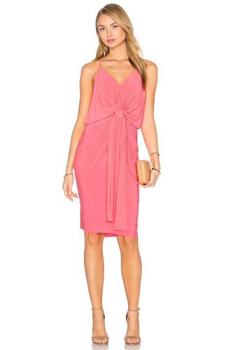 Domino Dress misa domino midi dress in pink lyst