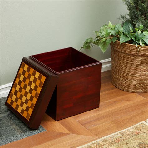 Wood Storage Ottoman Chessboard Top Wooden Storage Ottoman Modern Living Room Los Angeles By Gdfstudio