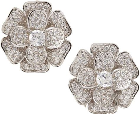 Cincin Forever21 Flower Zircon cz by kenneth pave cubic zirconia flower clip earrings in gray null lyst