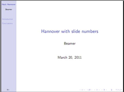 beamer theme page number how to number slides in the beamer theme hannover tex