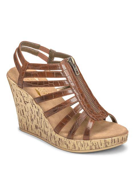 aerosoles wedge sandals aerosoles track faux leather wedge sandals in brown