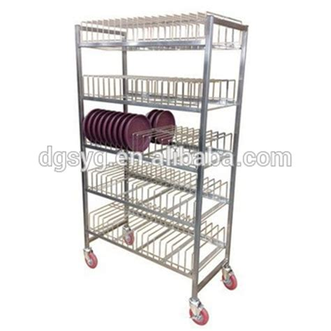 stainless steel dish storage rack for restaurant movable