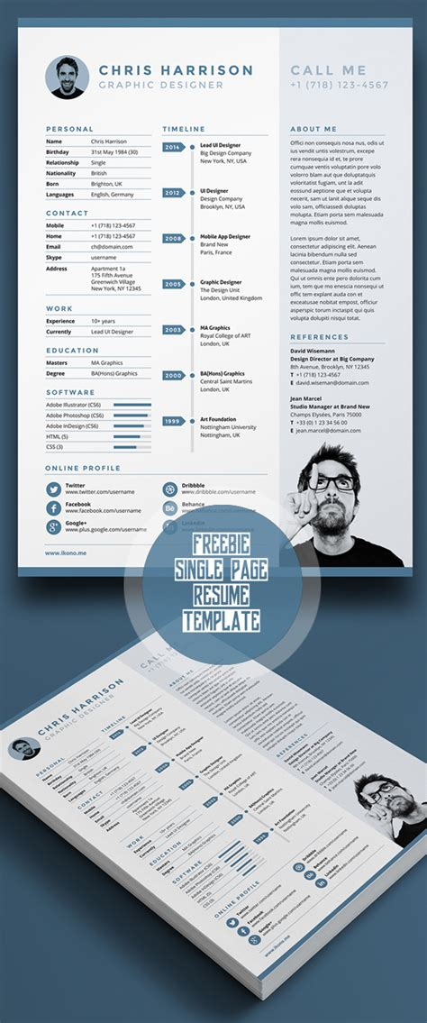 Single Page Resume Template Free by 20 Free Cv Resume Templates Psd Mockups Idevie
