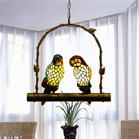 tiffany stained glass  parrots pendant light hanging lamp  pendant lights  lights