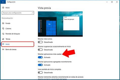 imagenes predeterminadas windows 10 c 243 mo ocultar o mostrar las aplicaciones m 225 s usadas en el