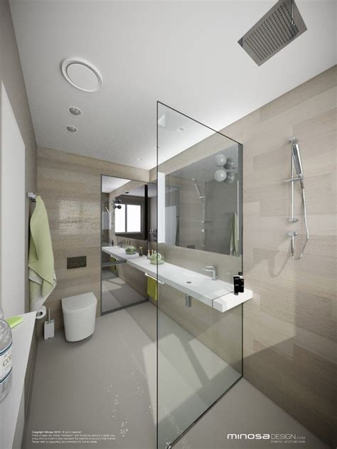 minimalist bathroom oversized glass shower  neutral