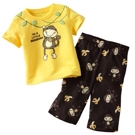 jumping beans monkey baby boys clothes suit yellow banana