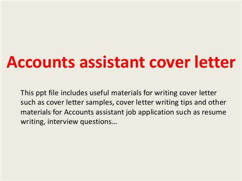 Cover Letter For Accounting Assistant Position
