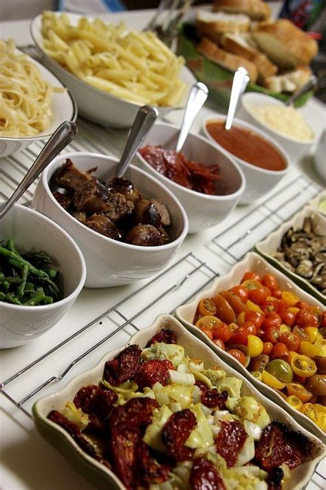 Pasta Bar Toppings by Feed Them And They Will Come Wedding Receptions