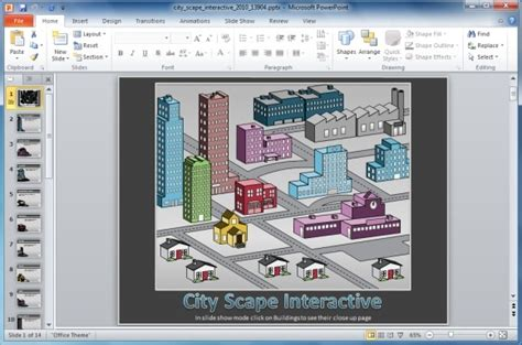 interactive templates for powerpoint presentation interactive cityscape powerpoint template