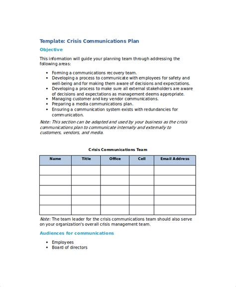 crisis plan template crisis plan template 8 free word pdf documents