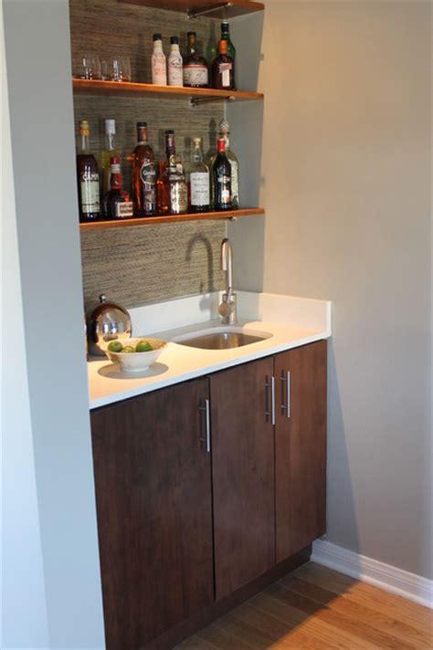 modern built  wet bar  walnut cabinet  quartz