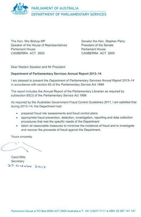 Transmittal Letter For Drawings letters of transmittal parliament of australia