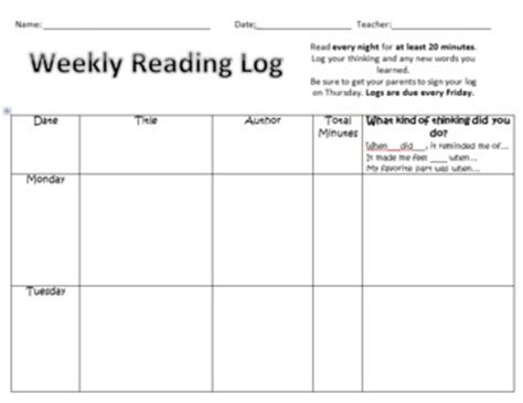 printable reading log 8th grade weekly reading log 1st and 2nd grade by littles learning