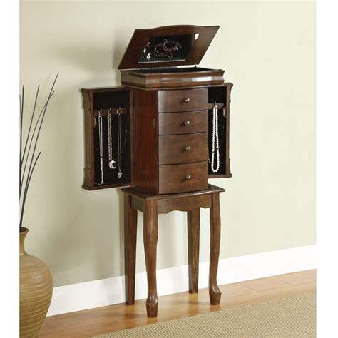 stand up jewelry armoire mirrored jewelry armoire box vintage cabinet tall stand up organizer walnut wood ebay