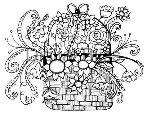 whimsical designs coloring pages adult coloring pages whimsical basket of flowers design